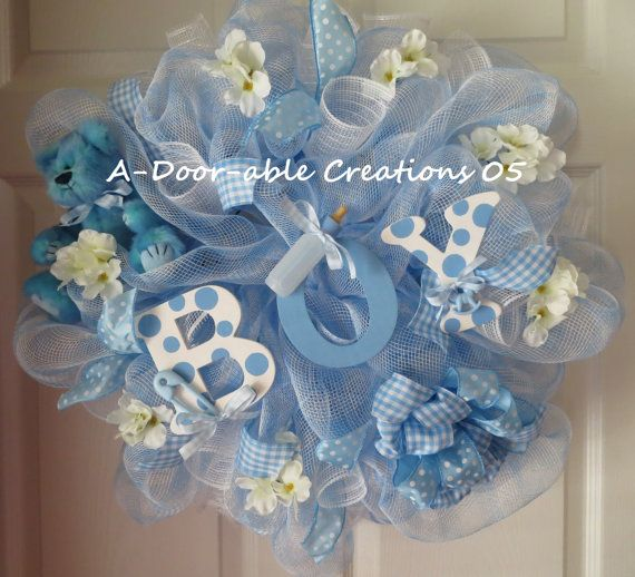BABY BOY..Deco Mesh Wreath..Baby by ADoorableCreations05 on Etsy, $69.00