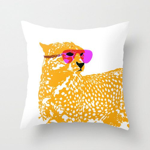 "Cheetah On Throw Pillow 18"" x 18""   -  Novelty pillows, throw pillows, nursery pillows, cheetah, nursery throw pillows"