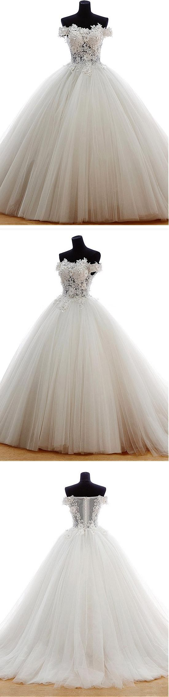 Chic Wedding Dresses Off-the-shoulder Wedding Dress Appliques Tulle Wedding Dress Ball Gown Bridal Gown #annapromdress #weddingdress #wedding #bridalgown #BridalGowns #cheapweddingdress #fashion #style #dance #bridal