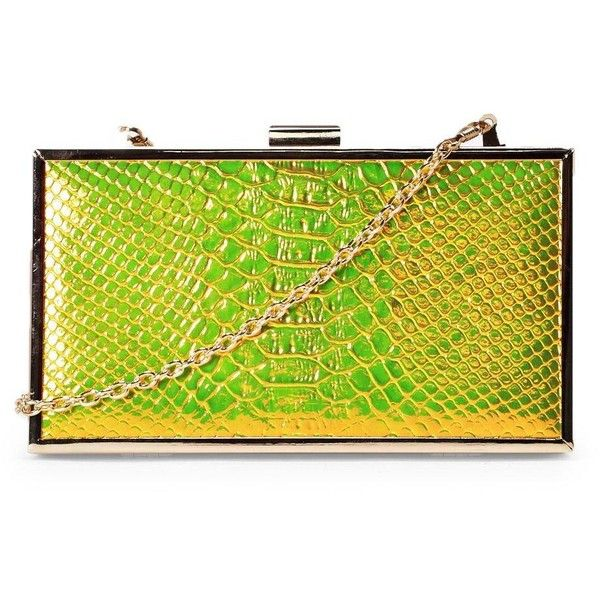 Nasty Gal WANT A Piece of Snake Clutch ($40) ❤ liked on Polyvore featuring bags, handbags, clutches, gold, chain handle handbags, clasp purse, gold handbags, neon handbags and chain-strap handbags
