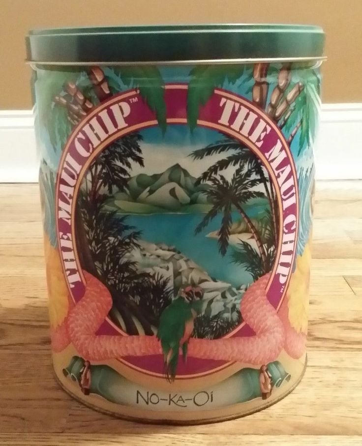 Vintage The Maui Chip - No-Ka-Oi Tin Can Original Rare Old Advertising Empty