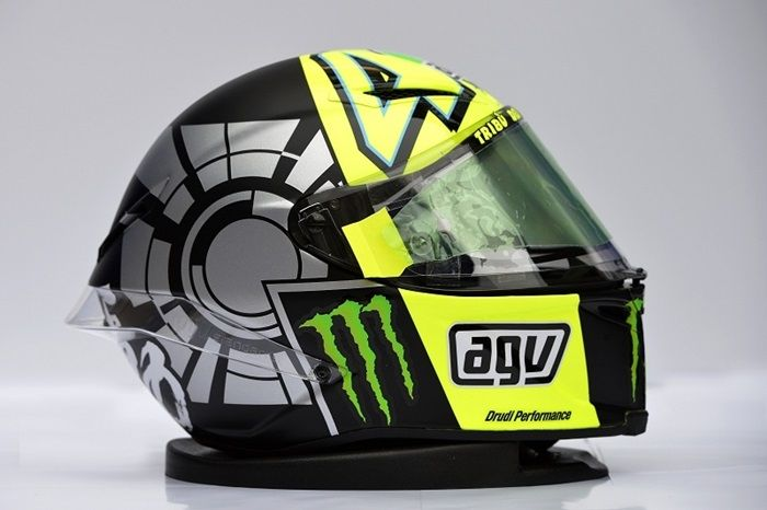 Valentino Rossi Kendo helmet (Winter Test 2012): Rossi marked his return to Yamaha with this simple design and featured a the Japanese symbol for 'Kendo' on the rear, which was used to show the intense emotion Rossi felt about returning to Yamaha http://rossihelmets.com/rossis-helmets/2012-motogp-rossi-helmets/valentino-rossi-kendo-helmet-winter-test-2012/