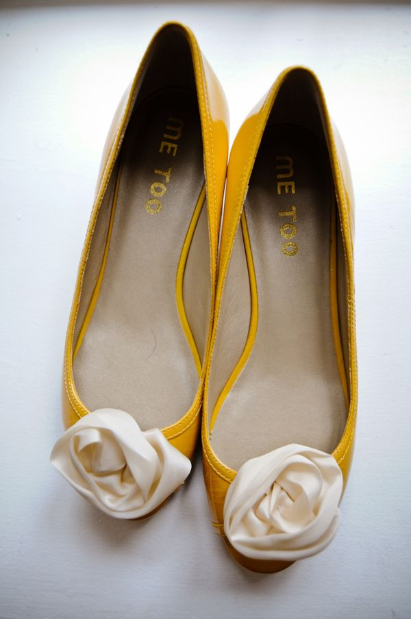 Mustard yellow ballet flats with fabric rose buds. Perfection.