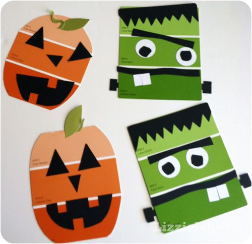 LizzieJane Baby: Paint Chip Halloween Craft. Could be a tint and shade value project.