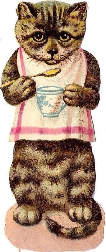 Oblaten Glanzbild scrap die cut  chromo  Katze cat kitten  Tasse cup