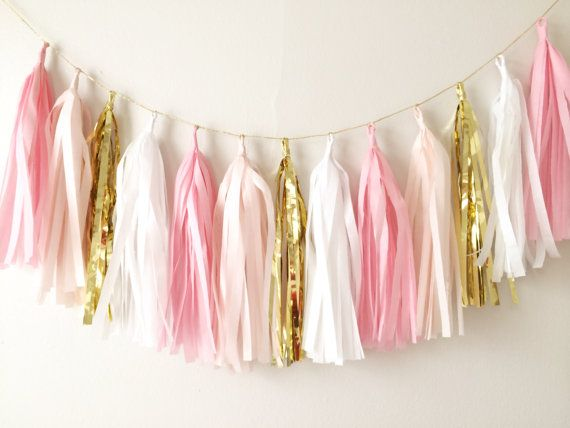 Pinks and Gold Tassel Garland  Easter Decor Spring by BlushBazaar, $27.00