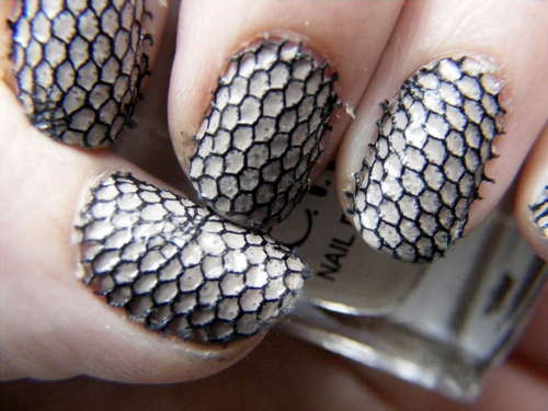 Lacy ManicureNails Art, Manicures Nails, Lacy Manicures, Lace Nails, Lace Fingernail, Hallows Eve, Makeup Ideas, Nails Ideas, Lace Manicures