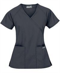 Butter-Soft Scrubs by UA Womens Mock Wrap Top with New Improved Fit