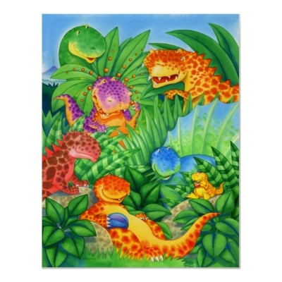 Dinosaur Friends Poster by Paul Stickland for DinosaurStore on Zazzle.