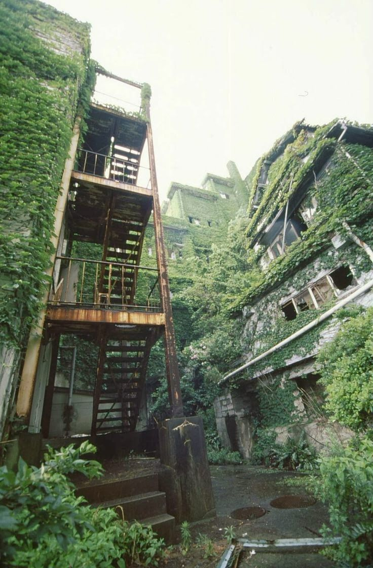 Hashima Island, Japan The island was populated from 1887 to 1974 as a coal mining facility. The island's most notable features are the abandoned and undisturbed concrete apartment buildings and the surrounding sea wall.
