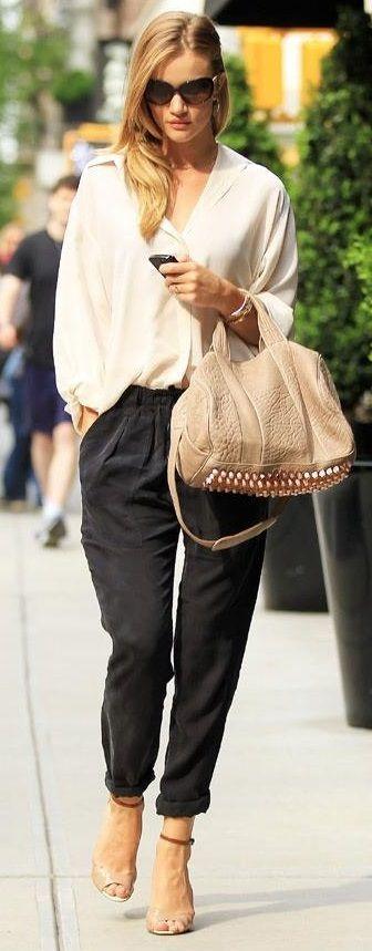 Pleated pants + loose blouse + Alexander Wang bag