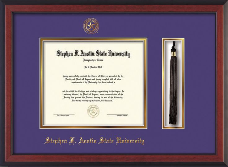Stephen F. Austin Diploma Frame - Cherr Reverse - Tassel - Purple/Gold – Professional Framing Company