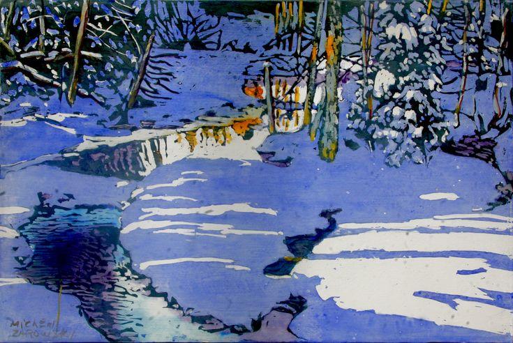 "sundown  12"" x 18""   micheal zarowsky - watercolour / acrylic painted directly on gessoed birch panel"