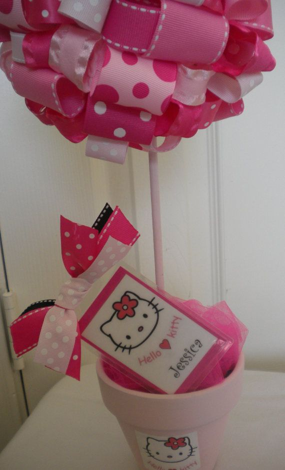 Hello Kitty ribbon topiary....Elle would LOVE this!  Great idea for a birthday parties!