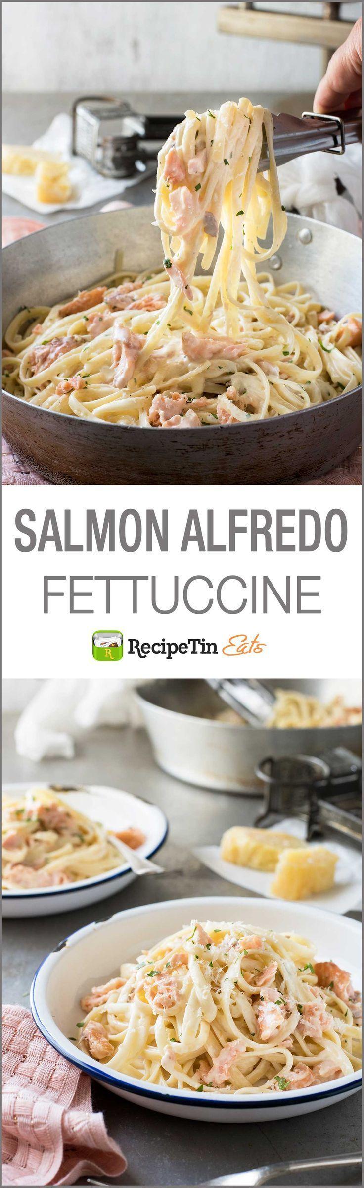 Salmon Alfredo Pasta - Fettuccine tossed in a creamy parmesan sauce and salmon, a magic combination! #seafoodrecipes