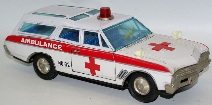 Vintage Tin Battery Operated Buick SUPERIOR AMBULANCE