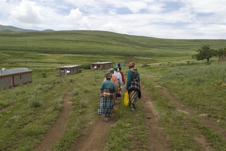 Women head for Semenanyane clinic in the mountainous district of Thaba-Tseka, eastern Lesotho