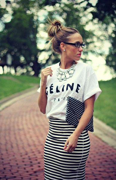 White tee stripe skirt statement necklace polka dot clutch