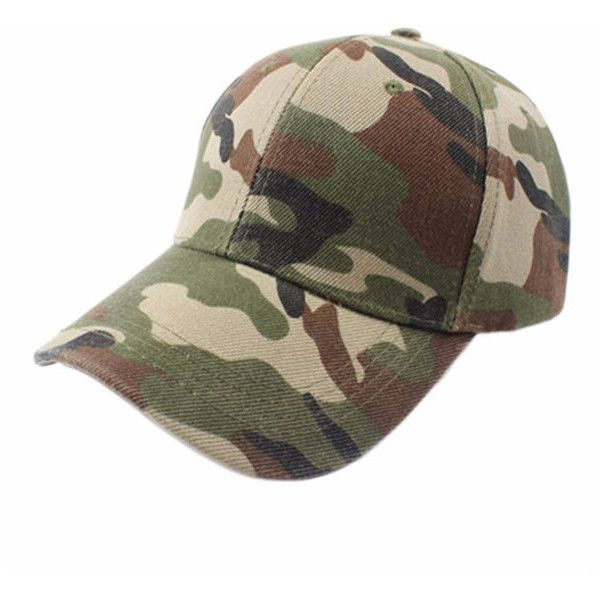 Unisex Adjustable Military Hunting Fishing Hat Army Baseball Outdoor... ($6.77) ❤ liked on Polyvore featuring accessories, hats, army bucket hat, camo hats, camo baseball hats, bucket hat and summer hats