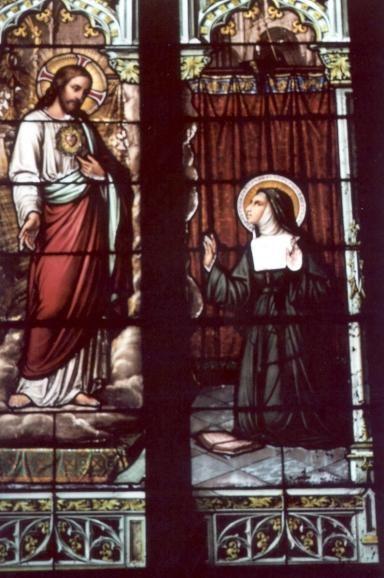 Marguerite-Marie Alacoque. - ca 1900(?). Glasschilderkunst Frankrijk, Bourgondië, Couches-les-Mines, Église St-Martin Het Heilig Hart verschijnt aan zuster Marguerite_marie.