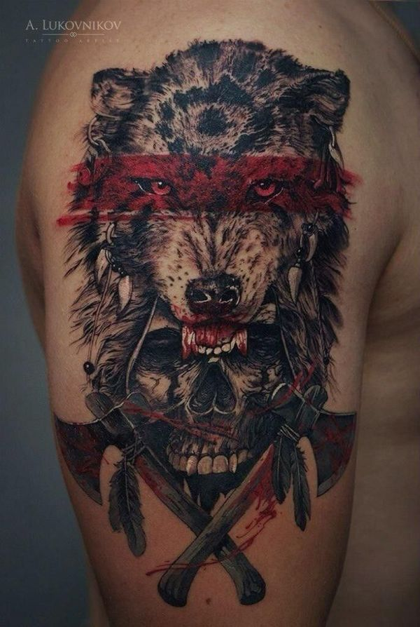 indian wolf  with skull tattoo on the arm