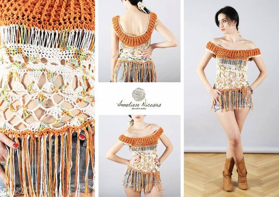 Chic Boho Hippie Freeform Crochet Blouse with by AnnesMagicCrochet