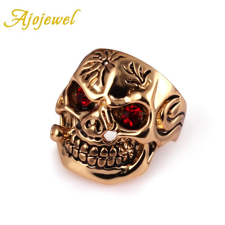 US Size 8/9/10 Ajojewel New Punk Man Jewelry Gold Plated Red Crystal Skull Rings For Men