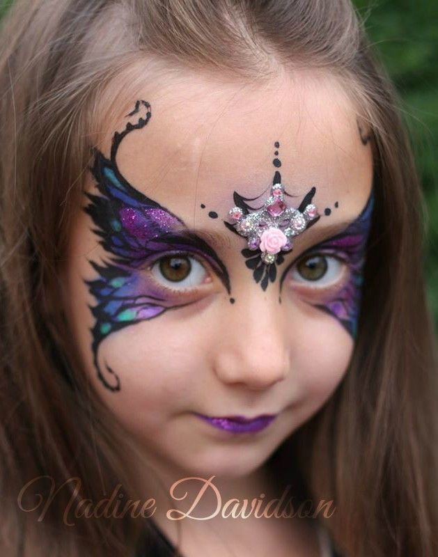 Dark Fairy Face Paint | Evil Fairy Face Paint | Halloween Face Paint | Bling Face Paint | Nadine Davidson | Nadine's Dreams