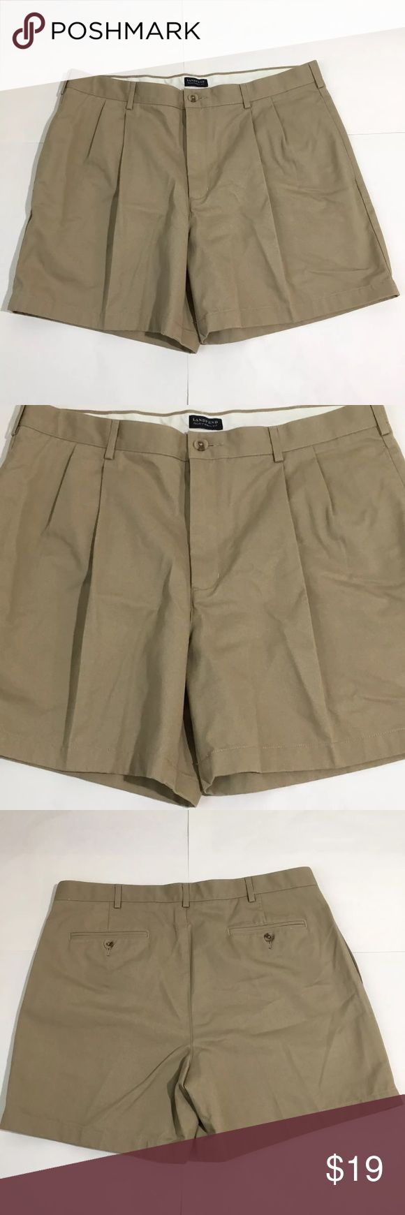 """Lands End Traditional Beige Chino Pleat Shorts 38 Men's Lands End traditional fit single pleat beige chino shorts. Size 38. 17.25"""" waist to hem. Perfect condition. Lands' End Shorts"""