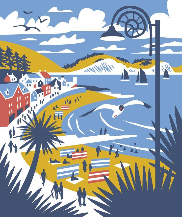 Lyme regis travel poster style illustration by matt