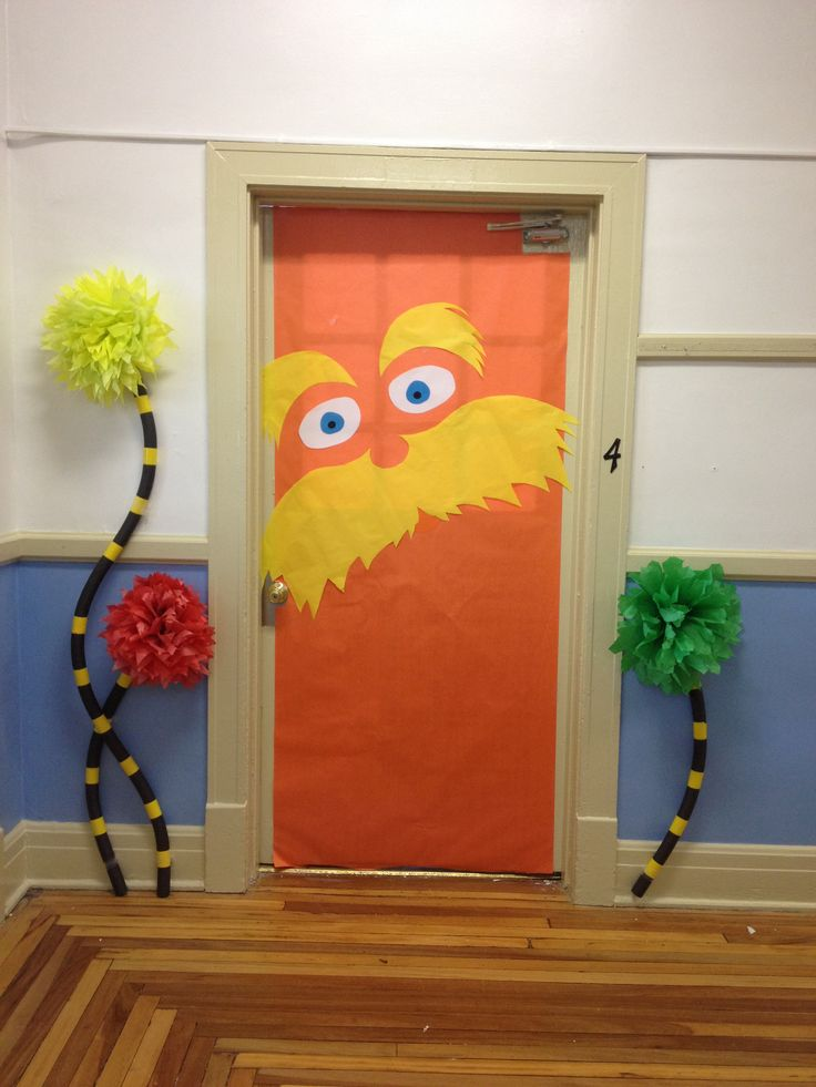 Lorax door with truffula trees for our school wide Dr. Seuss theme