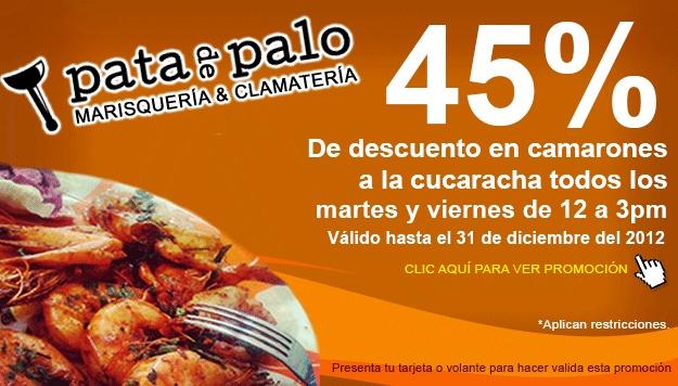 Martes y Viernes de camarones a la cucaracha en Pata de Palo de 12 pm a 3:00 pm