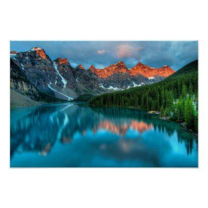 Lake Peaks Custom Poster Wall Art - beautiful gift idea present diy cyo