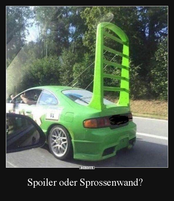 Spoiler Oder Sprossenwand Lustige Bilder Spruche Witze Echt Lustig In 2020 Car Humor Funny Car Memes Car Jokes