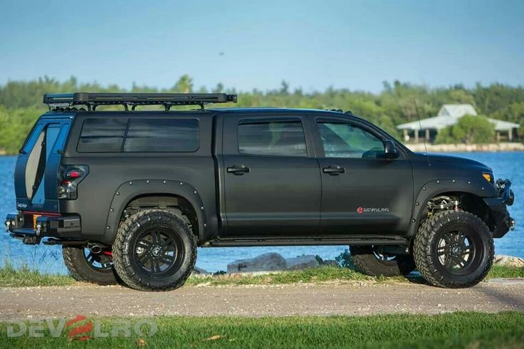 Toyota Tacoma Topper For Sale >> Tundra lifted matte black camping cap roof racks black ...