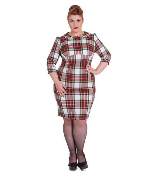 Doralee pencil dress, Rød/hvit
