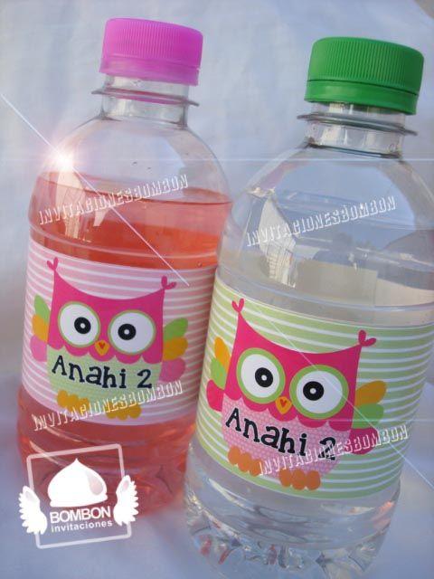 #buho #owl #green #party #invitacionesbombon #label #bottle #card #fall #agua #botella #pink #lemonade #baby https://www.facebook.com/invitaciones.bombon