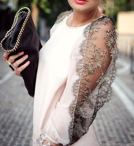 Lace details on sleeves.