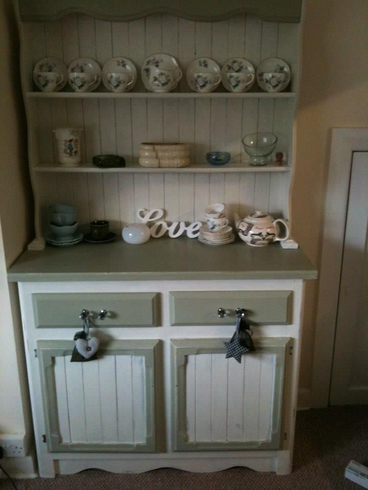 Pine Dresser sanded, painted, waxed and 'blinged' . I started and Priscilla finished. I really miss this piece, it was sold to Yummley's tea rooms in the Borders.