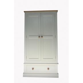 Portchester Pine Painted with Oak Top Double Wardrobe  www.easyfurn.co.uk