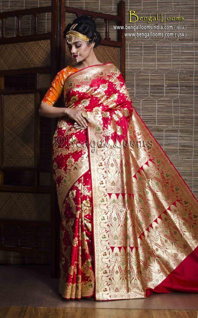 35619d3c6a0f4 Art Silk Bridal Banarasi Saree in Red and Gold with Minakari Work ...