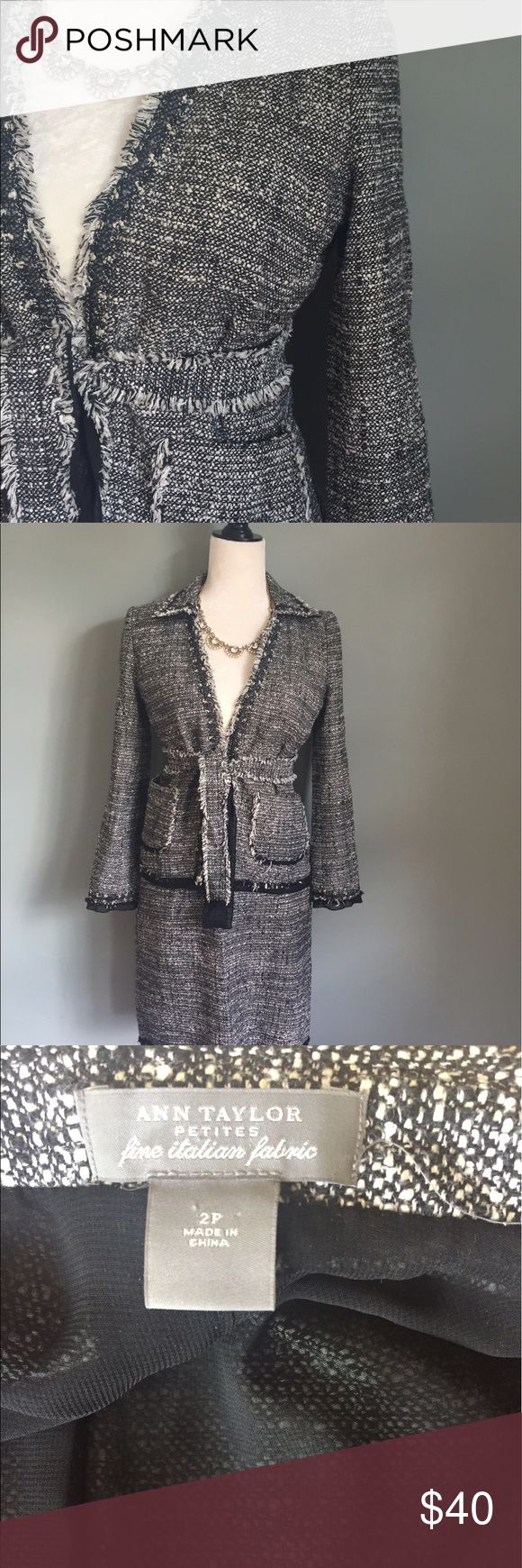 2 piece skirt suit with matching belt Black and white skirt suit with matching belt. Sheer black trim detail Ann Taylor Jackets & Coats Blazers
