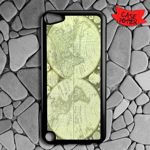Green World Map iPod 5 Black Case