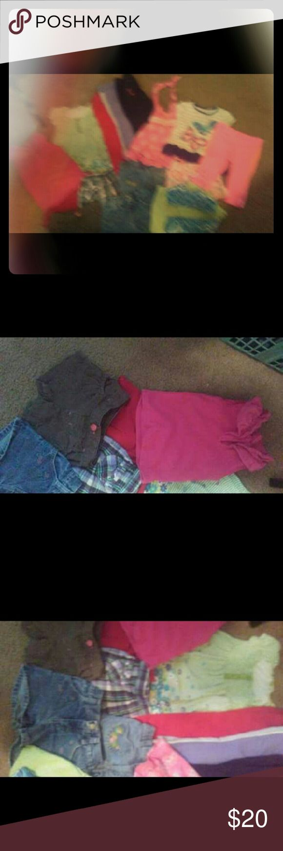 2t Girls Lot 15 pieces Including.... 4 pairs of pants (red plain, black corduroy pants with embroidered flowers, purple sweats, and some adorable NWOT pair of orange/hot pink jogging pants)  7 pairs shorts (2 jean, 1 brown, 1 plaid, 1 red, 1 green n white checked, 1 pink with summer print) 1 dress 1 collared tank 1 NWOT.blue wave print bikini 1 halter top 1 NWOT tutu top Other