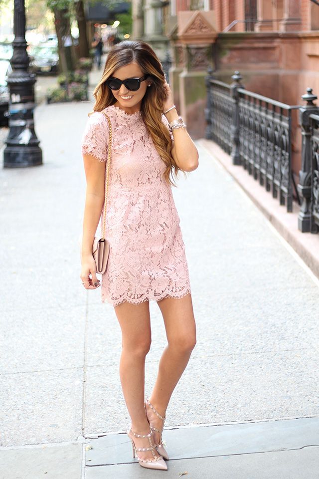 For all things lovely blush lace blush bag blush shoes for Wedding guest dress blush pink