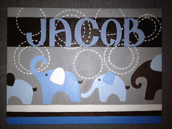 Custom painted baby name canvas Match any by SasseyWithClass, $30.00