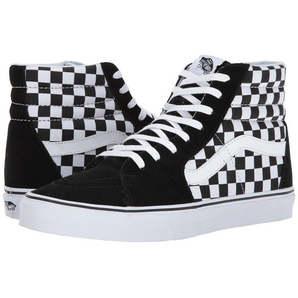 Vans SK8-Hi ((Checkerboard) Black/True White 1) Skate Shoes (£50) ❤ liked on Polyvore featuring shoes, sneakers, white sneakers, vans sneakers, black high tops, leather high top sneakers and vans shoes