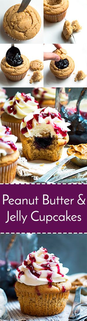 Peanut Butter Cupcakes with Jelly Filling | PBJ in cupcake form!!  A yummy peanut butter cupcake is filled with grape jelly filling and topped with a creamy buttercream frosting.