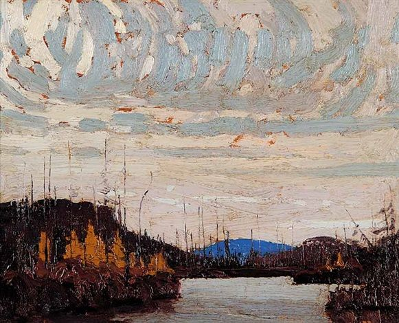 """Untitled (Dawn on Round Lake), Tom Thomson, 1915, oil on wood panel, 8.3 x 10.6"""", private collection."""