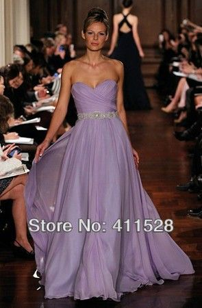 2014 lavender bridesmaid dresses for Maid of Honor online Sweetheart custom made long beaded waist chiffon fashion Gown  US $109.00